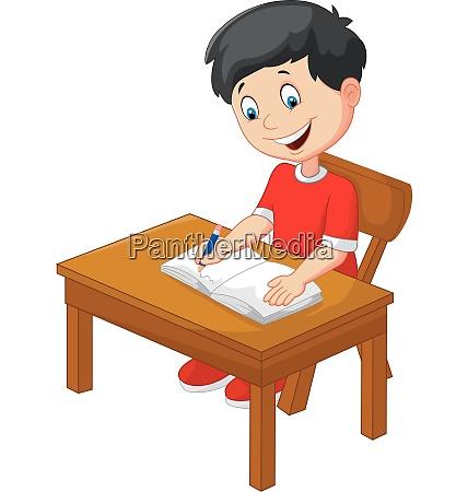 cartoon kleiner junge schreiben