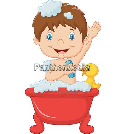 cartoon kind beim baden