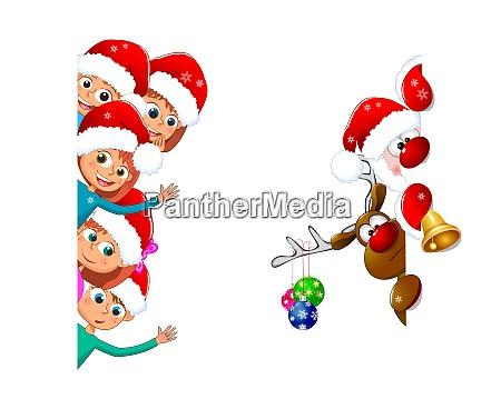 kinder und weihnachtsmann mit reh
