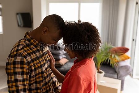 seitenansicht des romantischen jungen mixed race