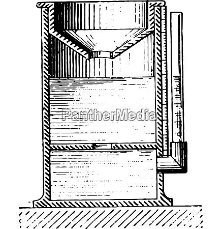 regenmessgeraet oder pluviometer vintage gravur