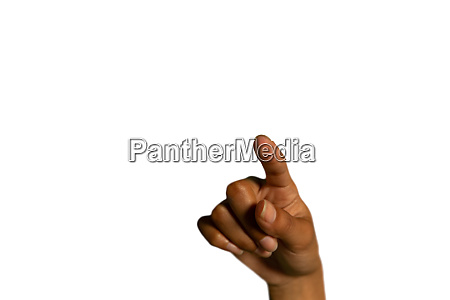 hand of a woman poiniting forward