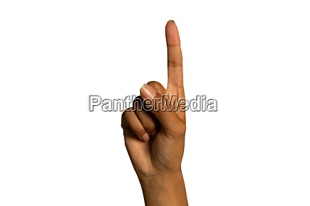 hand of a woman pointing up