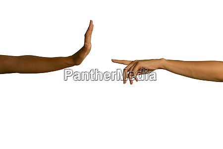 two arms extending towards each other
