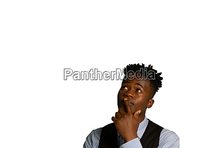 puzzled, businessman, touching, his, face, and - 27599992