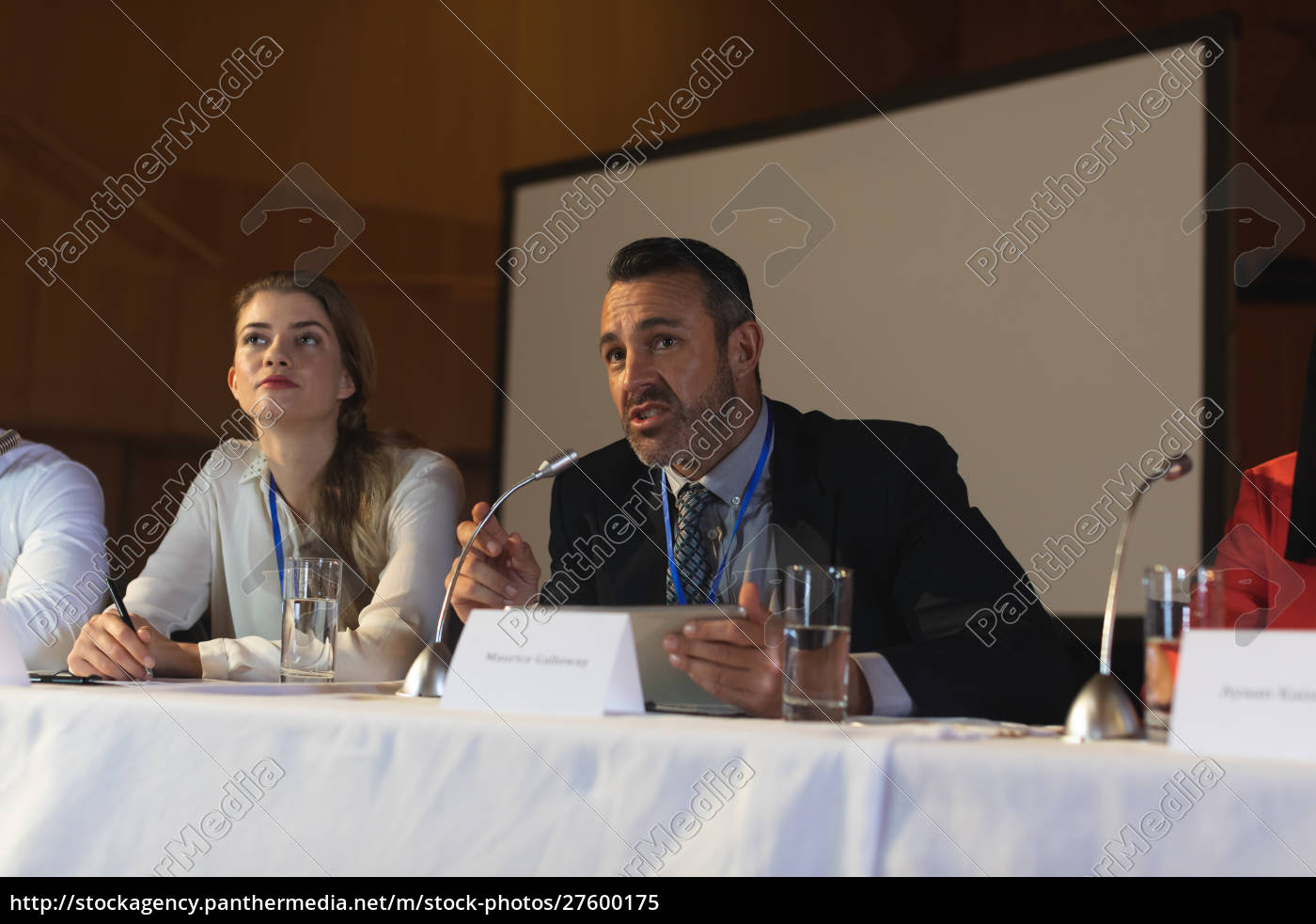 businessman, with, executive, speaking, in, speaker - 27600175