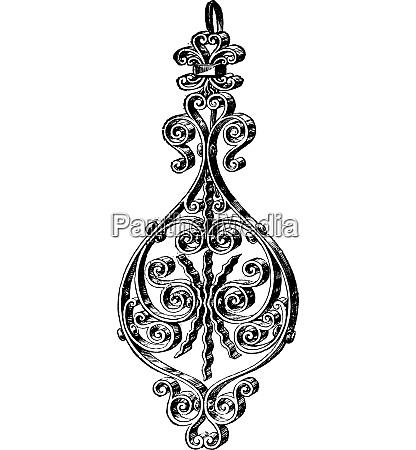 pierced jewel vintage gravur