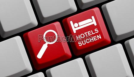 computertastatur mit deutschem text bedeutet suchhotels