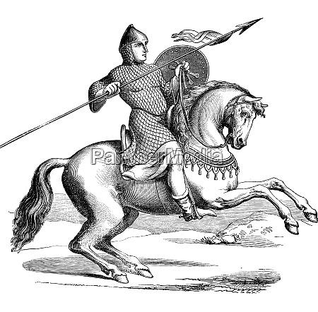 ritter auf einem pferd traegt hauberk