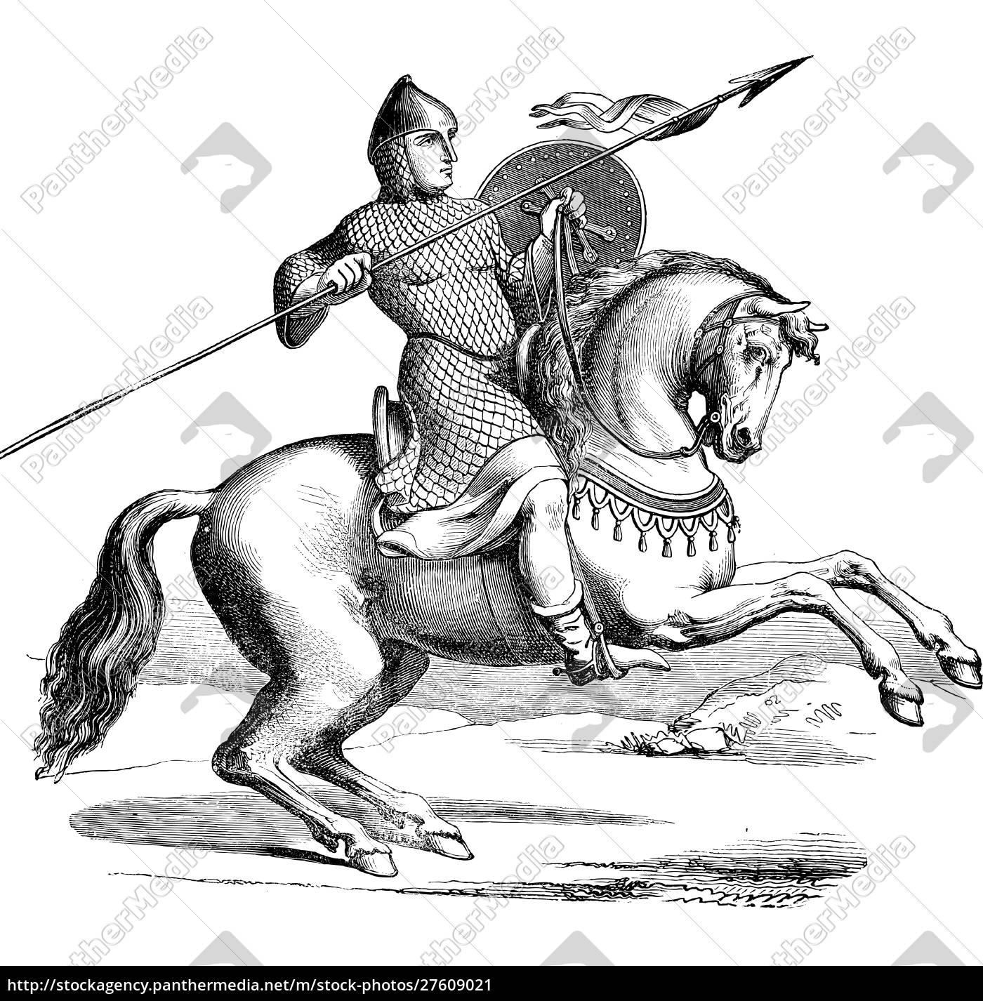 ritter, auf, einem, pferd, trägt, hauberk - 27609021