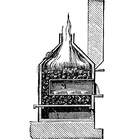 cupellation ofen vintage gravur