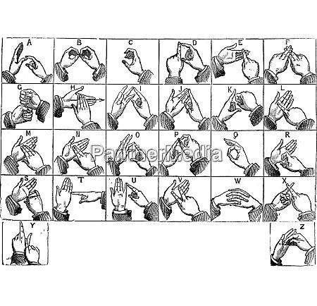 zweihaendige manuelle alphabete vintage gravur