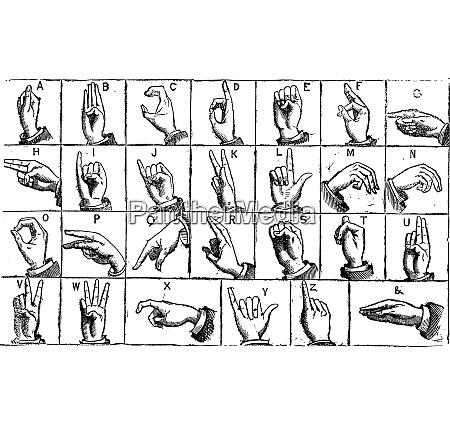 einhaendige manuelle alphabete vintage gravur