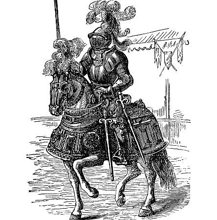 eisenbekleidet vollkoerperig gepanzertepferd pferd und reiter