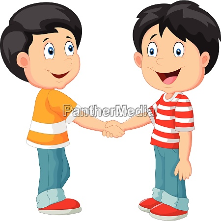 kleine jungen halten hand