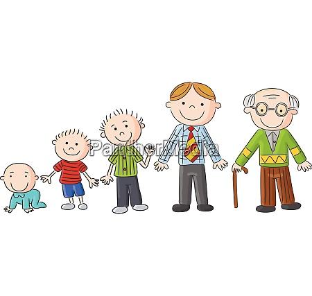 alternde menschen maenner in unterschiedlichem alter