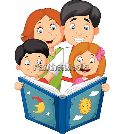 cartoon familie lesen eine schlafenszeit geschichte