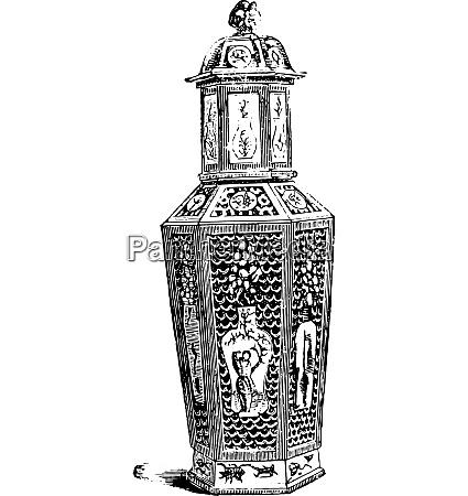 chinesische vase ableitung vintage gravur