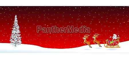 weihnachtsmann schlittentannenbaum auf rot
