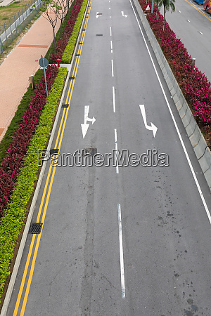 two lane street arrows