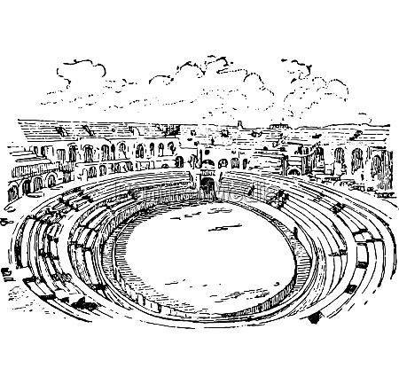 amphitheater in nimes vintage gravur