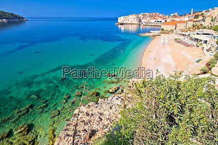 dubrovnik banje beach and historic walls