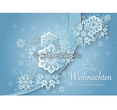christmas greeting with abstract paper snowflakes