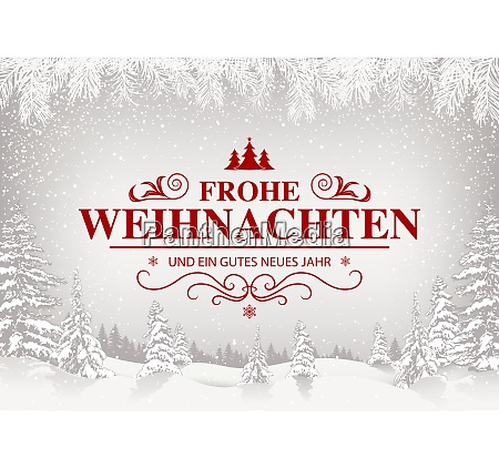 xmas greeting with white snowing landscape