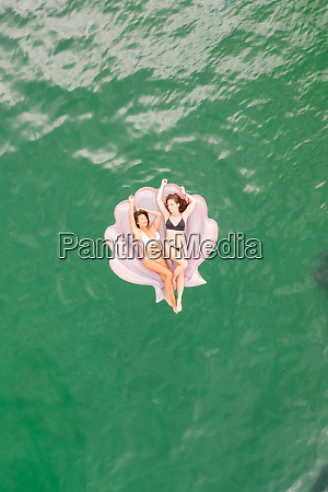 aerial view of attractive girls with