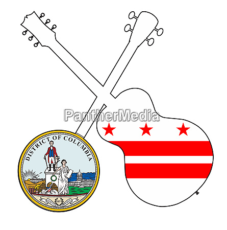 washington dc state flag banjo and