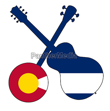 colorado flag banjo and guitar silhouette