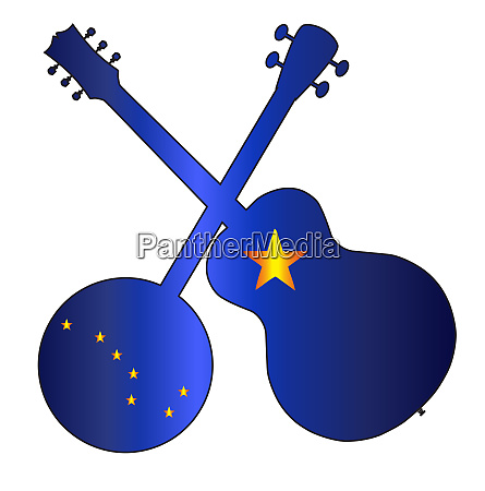 alaska state flag banjo and guitar