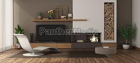 modernes wohnzimmer mit kamin und tv
