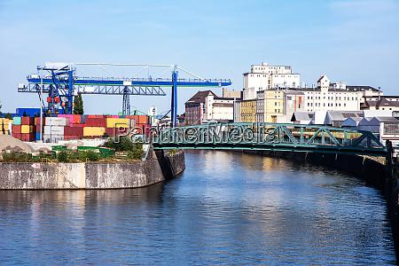industrial port in frankfurt at the