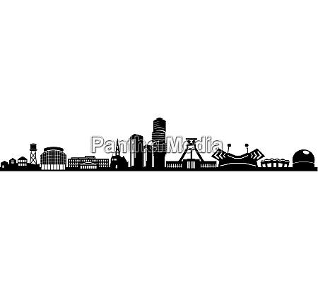 bochum city skyline vektor silhouette