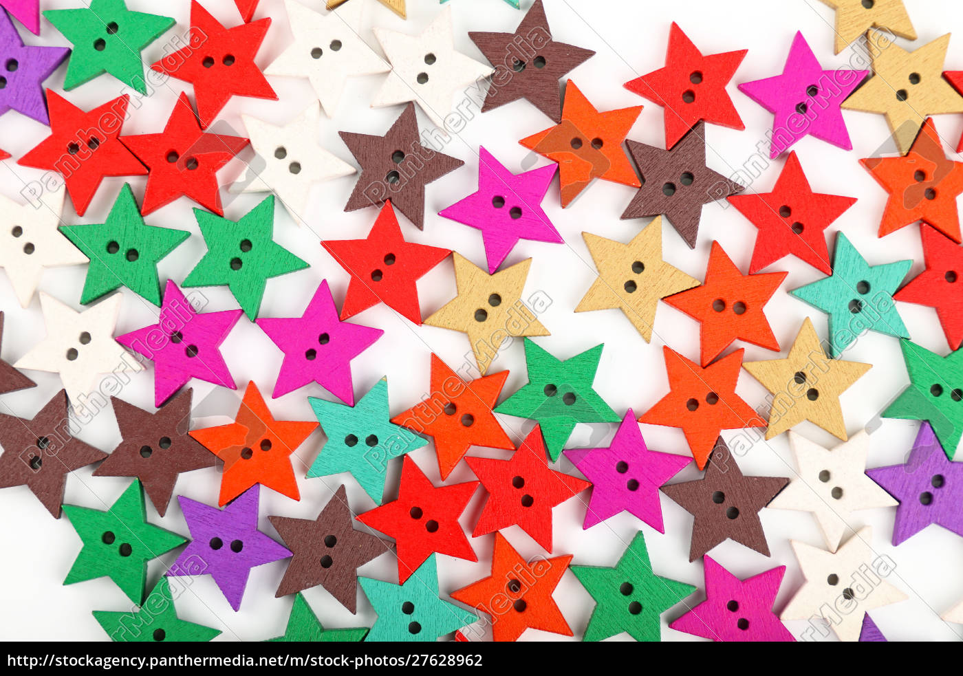 multicolor, star, shaped, wooden, buttons, on - 27628962