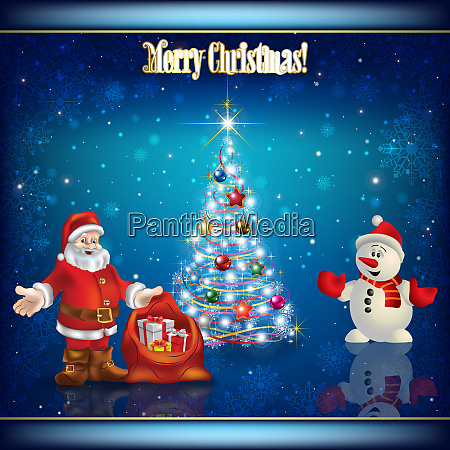 abstract background with christmas tree santa
