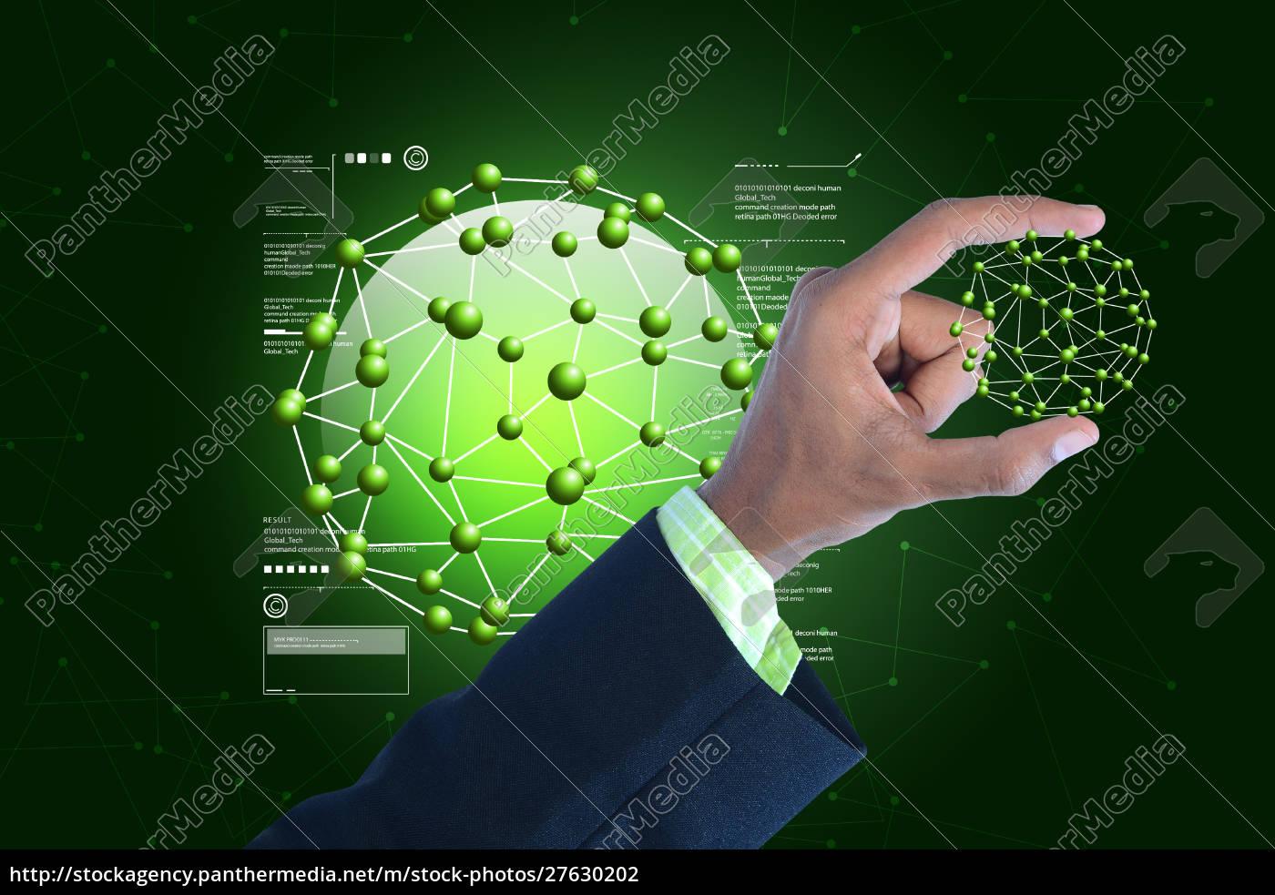 man, showing, molecules - 27630202