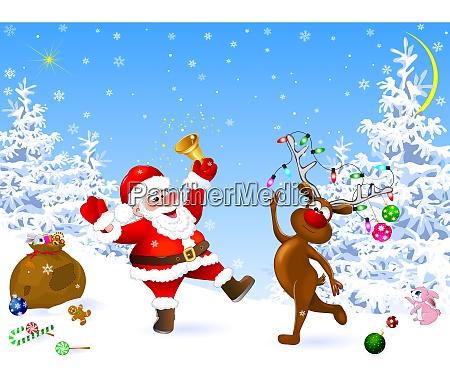weihnachtsmann und hirsche feiern weihnachten
