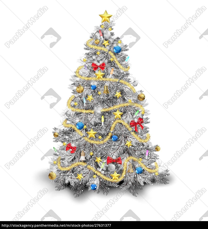 silber, weihnachtsbaum, mit, bunten, ornamenten - 27631377