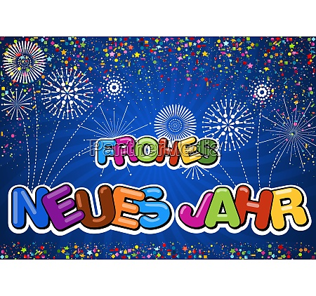 colorful happy new year greeting on