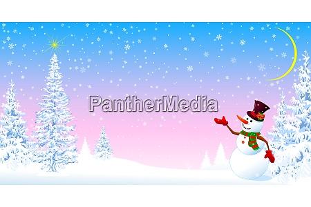 schneemann begruesst weihnachten