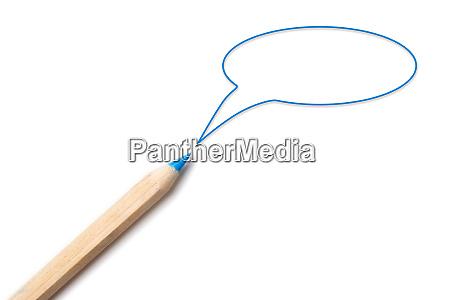 blue color pencil with blue speech
