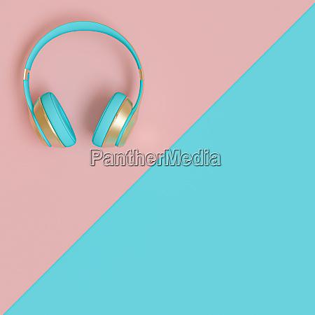 hellblau und gold audio kopfhoerer auf