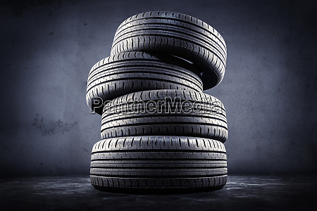 close up of five tires against