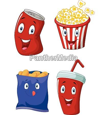 popcorn softdrink pommes frites und kartoffelchips