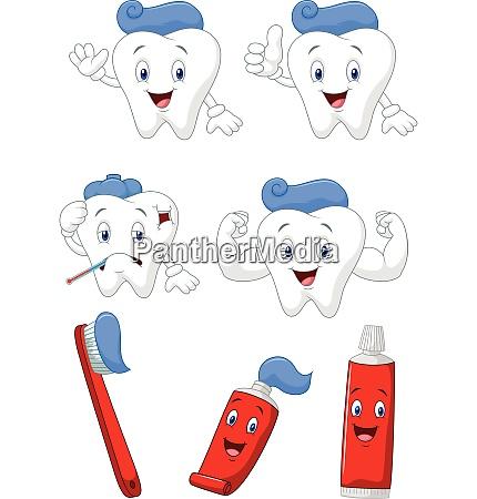 zahn pinsel und zahnpasta cartoon charakter