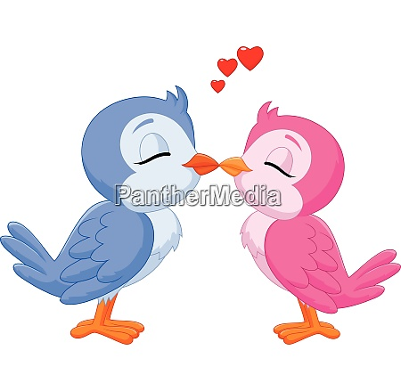 illustration of two love birds kissing