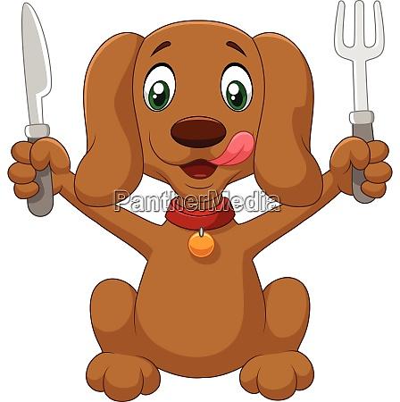 cartoon hund haelt eine gabel