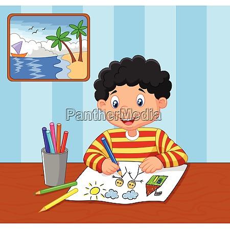 cartoon kleiner junge studieren